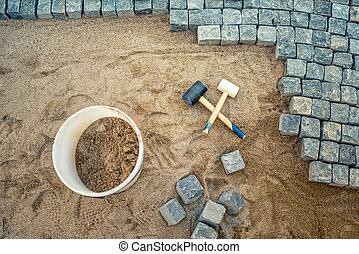 pierre bloque, trottoir, site, caoutchouc, pavé, détails, construction, trottoir, marteaux