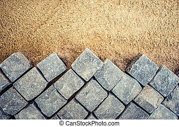 pierre bloque, trottoir, site, pavé, détails, construction, trottoir, route
