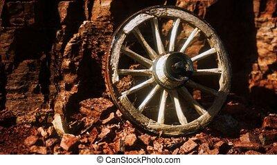 pierre bois, charrette, rochers, roue, vieux