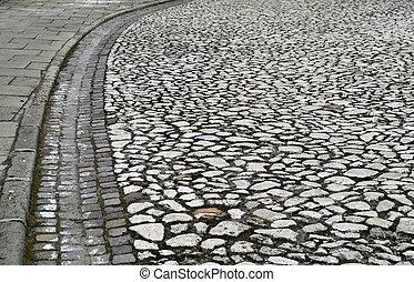 pierre, bord, vieux, route