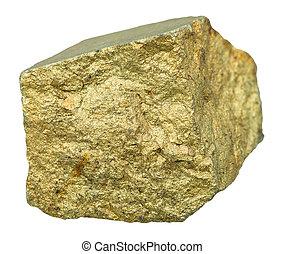 pierre, chalcopyrite, brass-yellow, isolé, minéral