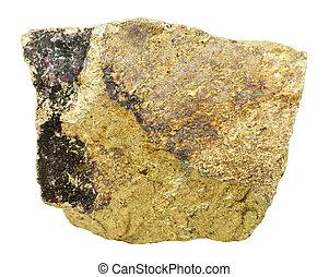 pierre, chalcopyrite, minéral, blanc, isolé