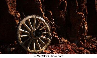 pierre, charrette, roue, rochers, vieux, bois
