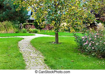 pierre, chemin, dans jardin