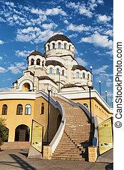 pierre, christ, escalier, mener, image, long, sanctuaire, miraculeux, sauveur