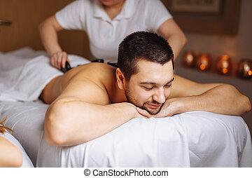pierre, concept, style de vie, sain, avoir, spa, salon., masage, homme