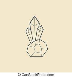 pierre, contour, jaune, sombre, cristal, fond