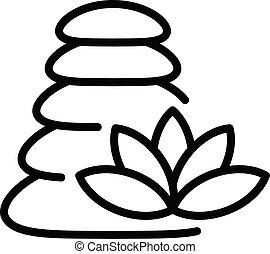 pierre, contour, style, icône, pile, masage
