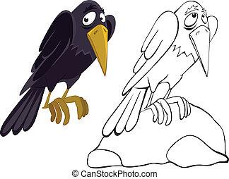 pierre, corbeau