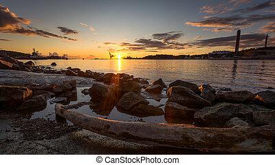 pierre, coucher soleil, rouges, capturé, scandinave