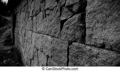 pierre, cour, bois, mur, porte