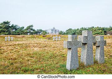 pierre, croix, dans, les, vieux, cimetière