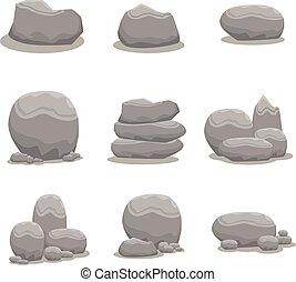 pierre, ensemble, art, élément, vecteur, rocher
