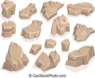 pierre, ensemble, dessin animé, rocher