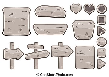pierre, ensemble, dessin animé, signes