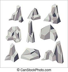 pierre, ensemble, isoler, élément, vecteur, dessin animé