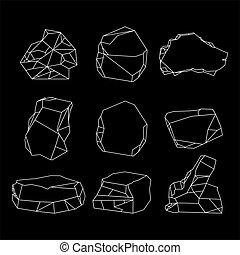 pierre, ensemble, lignes