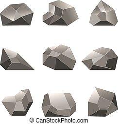pierre, ensemble, polygone, poly, rochers, vecteur, ou