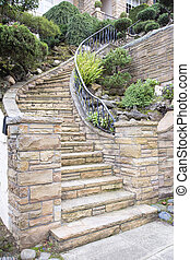 pierre, escalier, extérieur, façade, maison, placage