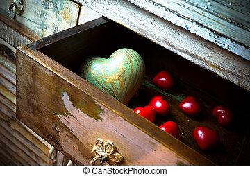 pierre, fait, tiroir, valentin, bois, cœurs, ??of, jour