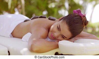 pierre, femme, jeune, chaud, joli, avoir, masage