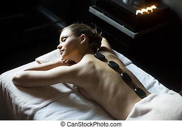 pierre, femme, jeune, chaud, thérapie, avoir, masage