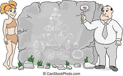 pierre, femme, nourriture, caverne, paleo, régime, pyramide, utilisation, dessiné, explique
