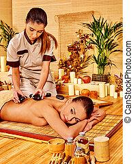 pierre, femme, thérapie, masage, obtenir