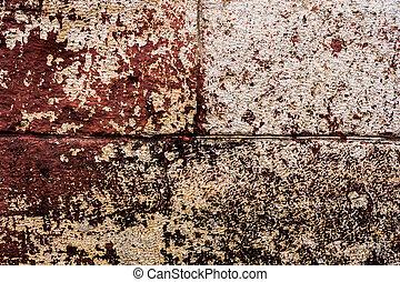 pierre, fissures, blocs, peinture, peler, painted., grand, murs, arrière-plan rouge, textured, grunge, brique, scratches.