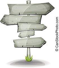 pierre, flèches, panneaux signalisations