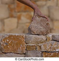pierre, fonctionnement, mur, maçon, mains, maçonnerie
