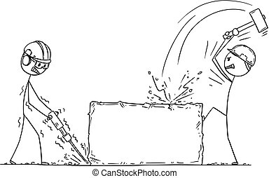 pierre, fonctionnement, ouvriers, deux, ouvriers, ou, foret, marteau roche, dessin animé