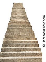 pierre, fond blanc, isolé, escalier
