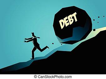 pierre, grand, loin, courant, homme affaires, message, dette