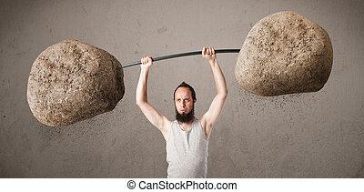 pierre, grand, poids, rocher, type, maigre, levage
