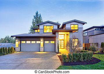 pierre, gris, maison, moderne, histoire, deux, luxe, extérieur, grand, colonnes