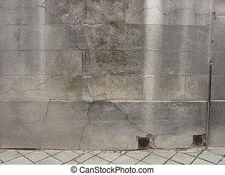 pierre, grunge, porté, trottoir, vieux, mur, vue
