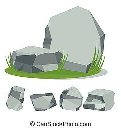 pierre, herbe, rocher