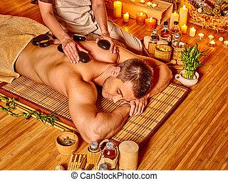 pierre, homme, thérapie, masage, obtenir