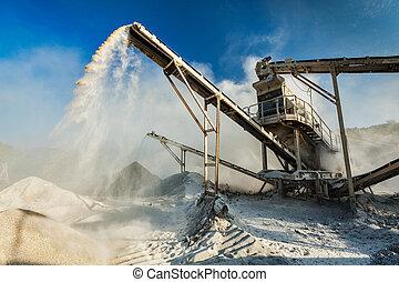 pierre, industriel, écrasant, -, machine, rocher, broyeur