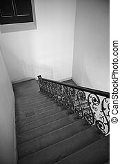 pierre, intérieur, grille, fer, escalier