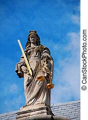 pierre, justice., dame, statue