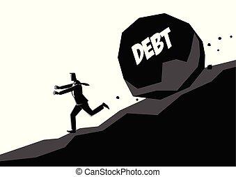 pierre, loin, grand, courant, homme affaires, message, dette