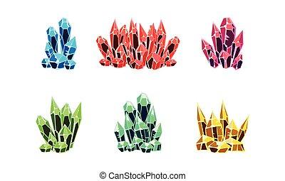 pierre, minéral, coloré, ensemble, illustration, rochers, clair, vecteur, fond, cristaux, blanc