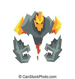 pierre, monstre, brûler, mystique, caractère, illustration, fantasme, vecteur, créature