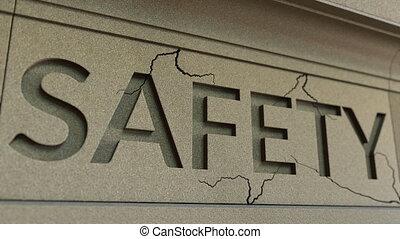 pierre, mot, facade., sécurité, craquement, conceptuel, infraction, sécurité, animation