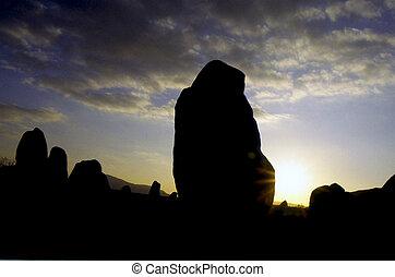 pierre, néolithique, coucher soleil, cercle