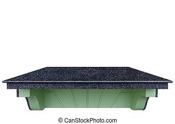 pierre, naturel, path., sommet, compteur, isolé, produit, noir, white., coupure, sauve, exposer, vide