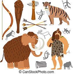 pierre, neanderthal, homme cavernes, âge, icônes