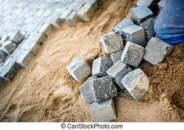 pierre, placer, ouvrier, pavé, trottoir, construction, granit